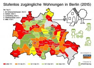 Infografik: Berlin-Karte mit stufenlosen Wohnungen nach Bezirk